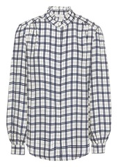 Joie Woman Ruffle-trimmed Checked Jacquard Shirt Navy