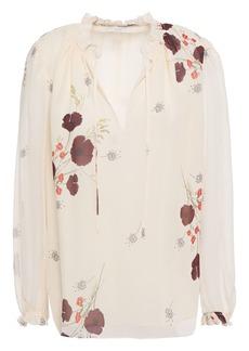 Joie Woman Rafaella Ruffle-trimmed Floral-print Silk-georgette Blouse Cream