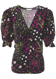 Joie Woman Anevy Ruffle-trimmed Floral-print Crepe Blouse Black