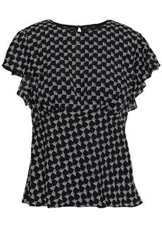 Joie Woman Ruffled Printed Crepe De Chine Blouse Black