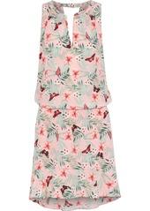 Joie Woman Sabera Gathered Printed Silk Crepe De Chine Mini Dress Pink