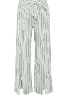 Joie Woman Sahira Tie-front Striped Linen Wide-leg Pants Dark Green
