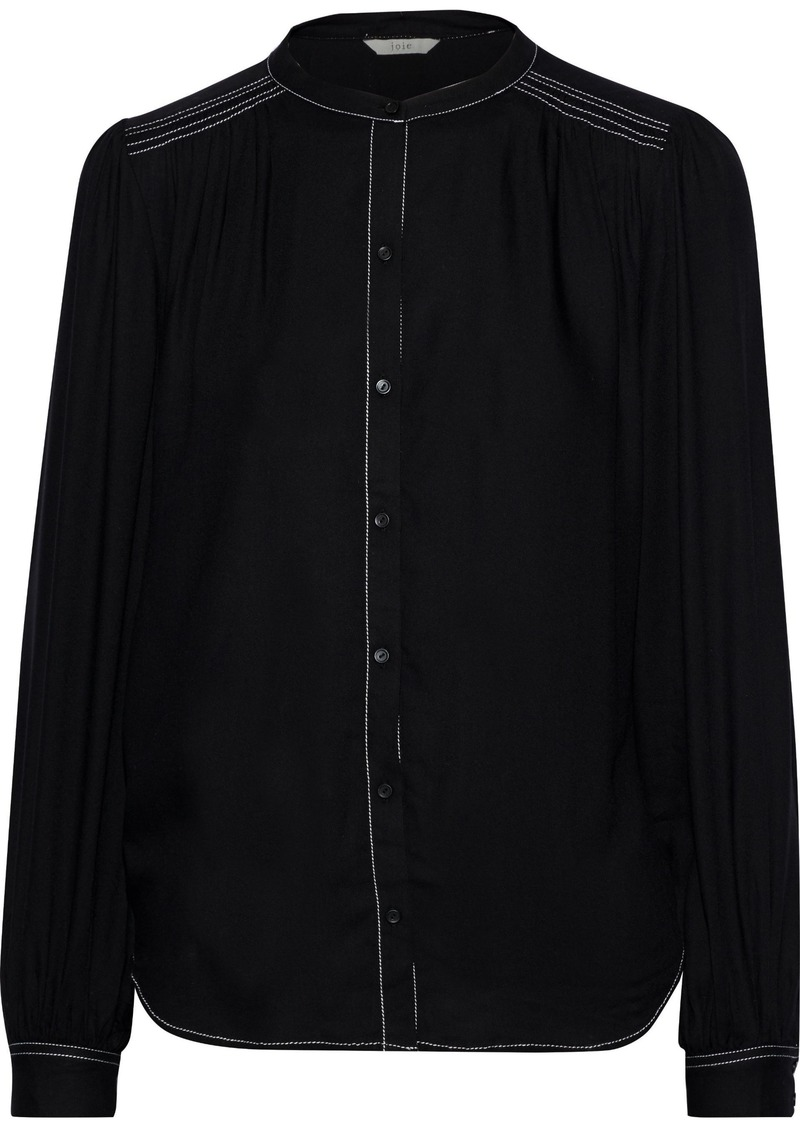 Joie Woman Saiyuri Gathered Twill Blouse Black