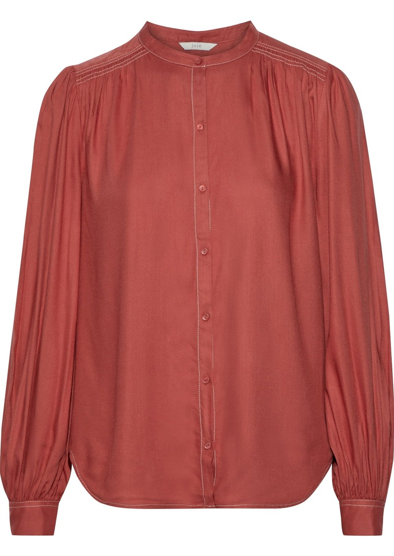 Joie Woman Saiyuri Gathered Twill Blouse Brick
