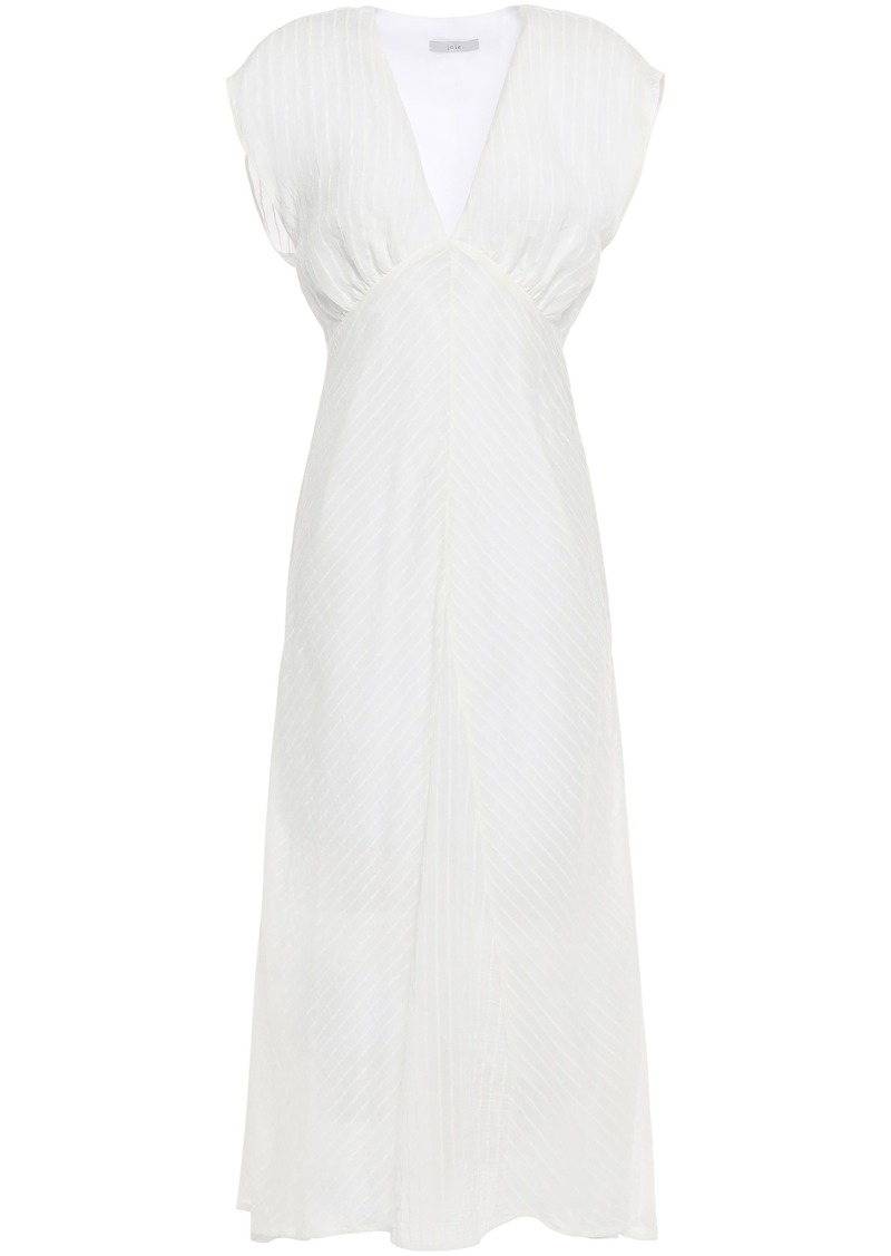 Joie Woman Shaeryl Gathered Striped Gauze Midi Dress White