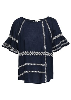 Joie Woman Shoffie Embroidered Cotton-voile Blouse Navy