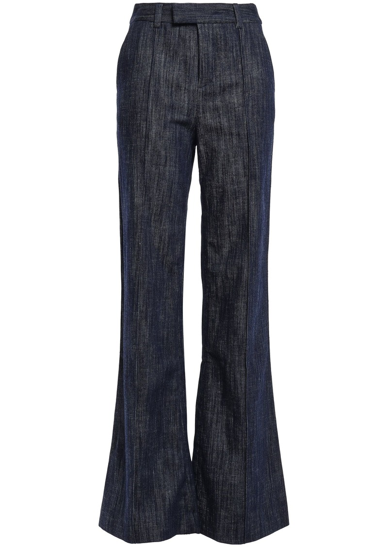 Joie Woman Sylvana Faded High-rise Flared Jeans Dark Denim