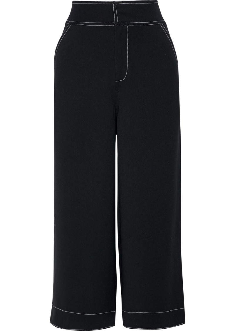 Joie Woman Tabea Cropped Crepe Wide-leg Pants Black