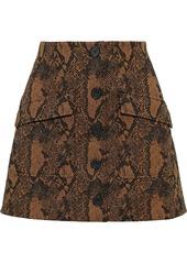 Joie Woman Tabina Button-detailed Cotton-blend Snake-jacquard Mini Skirt Animal Print