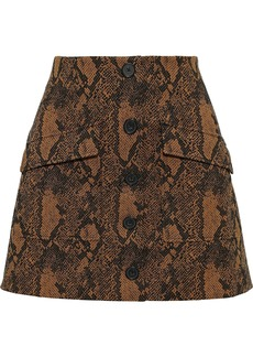 Joie Woman Tabina Button-detailed Cotton-blend Snake-jacquard Mini Skirt Animal Print