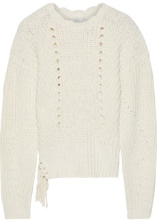 Joie Woman Taelar Fringe-trimmed Ribbed Cotton-blend Sweater Ecru