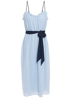Joie Woman Talei Belted Broderie Anglaise Voile Midi Dress Sky Blue