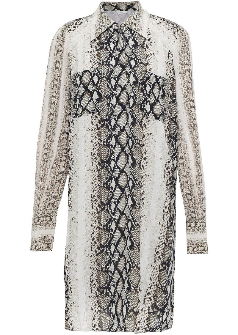 Joie Woman Talma Snake-print Crepe De Chine Mini Shirt Dress Animal Print