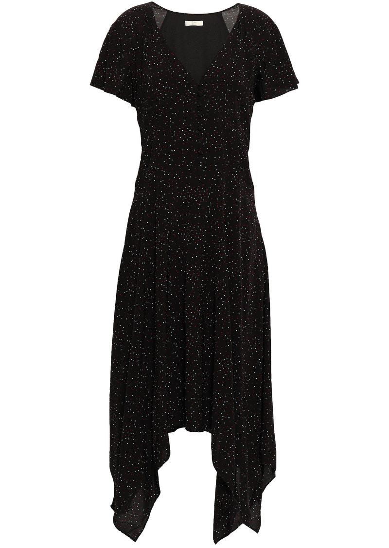 Joie Woman Tamyra Asymmetric Printed Voile Midi Dress Black