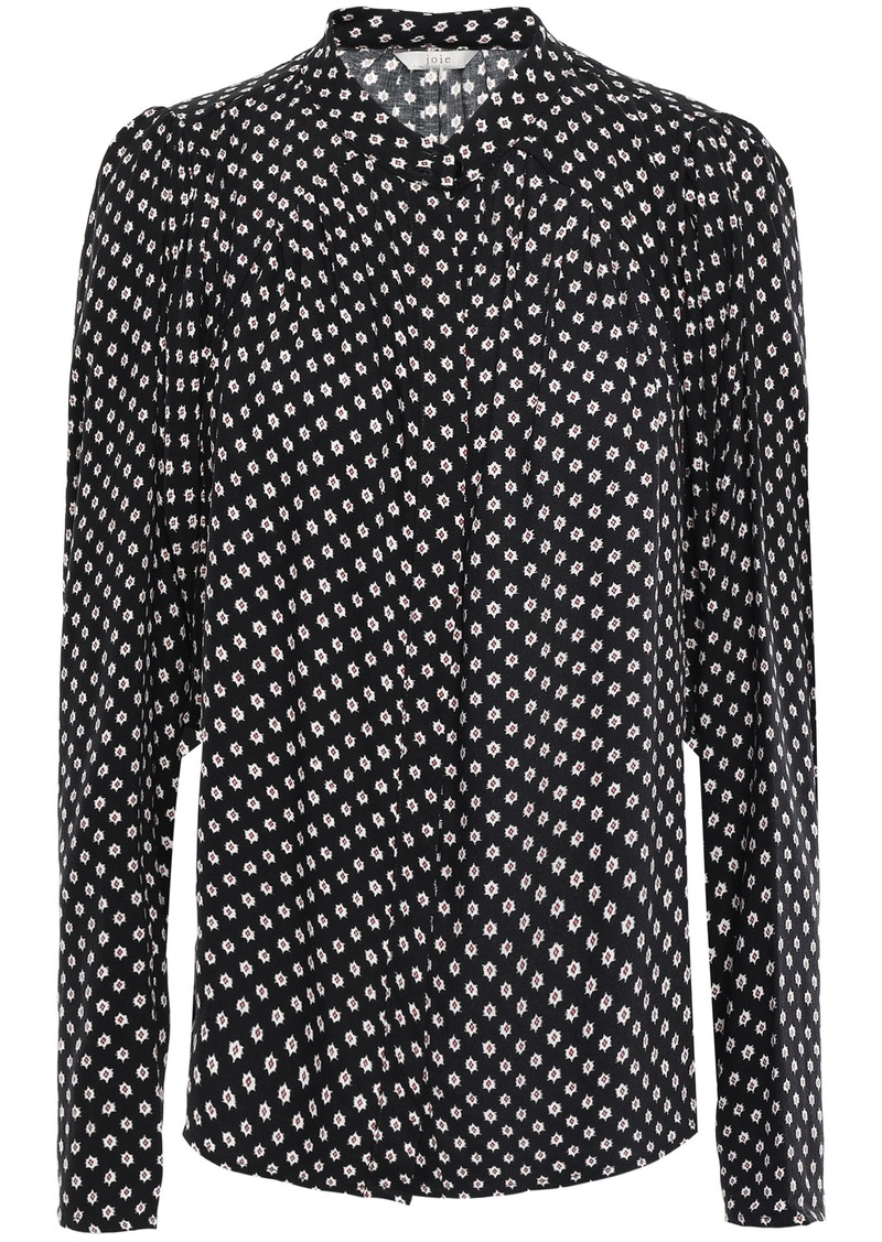 Joie Woman Tangia Gathered Printed Twill Blouse Black