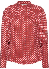 Joie Woman Tangia Gathered Printed Twill Blouse Tomato Red