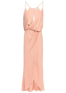 Joie Woman Tanika Wrap-effect Slub Jersey Dress Peach