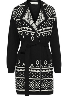 Joie Woman Tanisha Belted Cotton-jacquard Cardigan Black