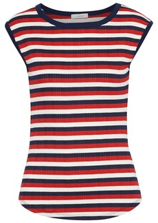 Joie Woman Tasmin C Striped Ribbed Jersey Top Red