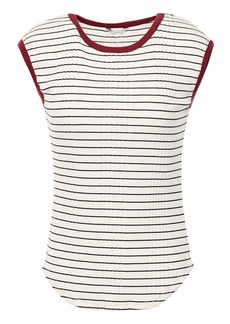 Joie Woman Tasmin Striped Ribbed Jersey T-shirt Off-white