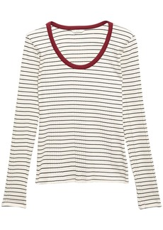 Joie Woman Tayanita Striped Ribbed Jersey Top Off-white