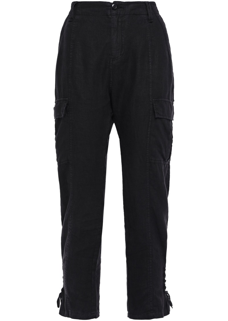 Joie Woman Telutci Cropped Lace-up Linen Tapered Pants Black