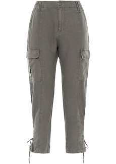 Joie Woman Telutci Cropped Lace-up Linen Tapered Pants Mushroom