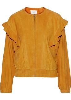 Joie Woman Temis Ruffled Suede Jacket Saffron