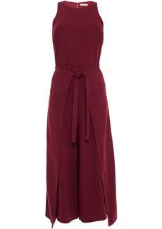 Joie Woman Tie-front Layered Crepe Wide-leg Jumpsuit Merlot
