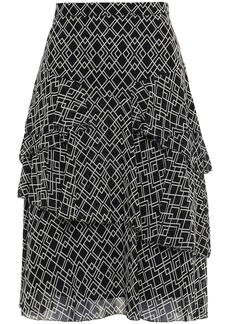 Joie Woman Tiered Printed Silk-georgette Skirt Black