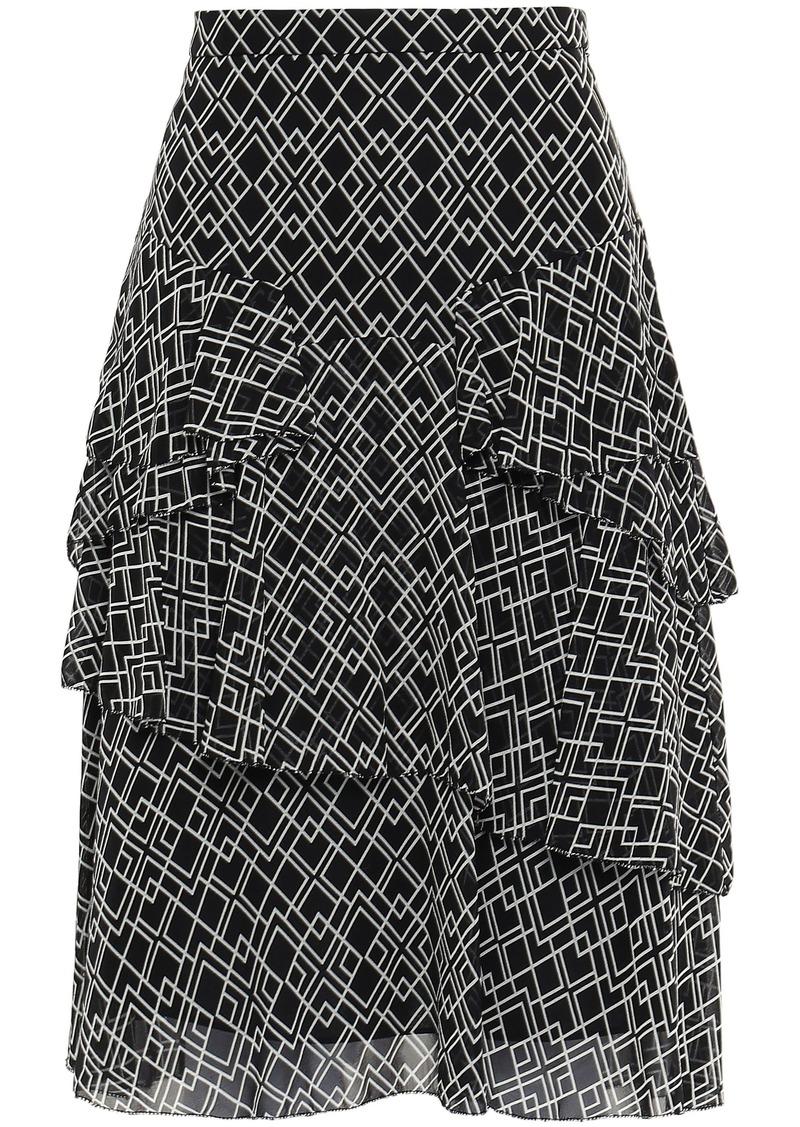 Joie Woman Tiered Printed Silk-georgette Skirt Black