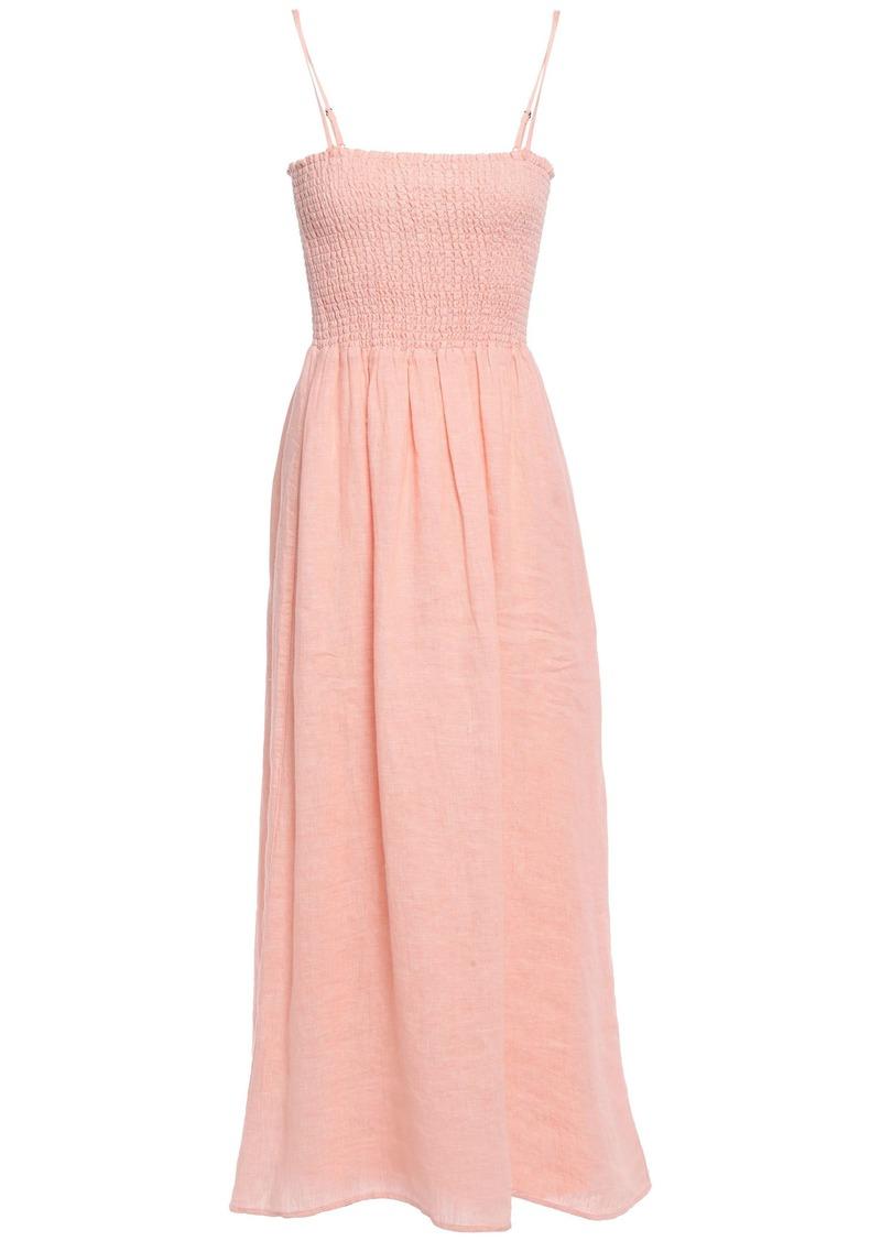 Joie Woman Tilsa Shirred Linen Midi Dress Blush