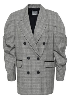 Joie Woman Tomika Double-breasted Prince Of Wales Checked Jacquard Jacket Gray