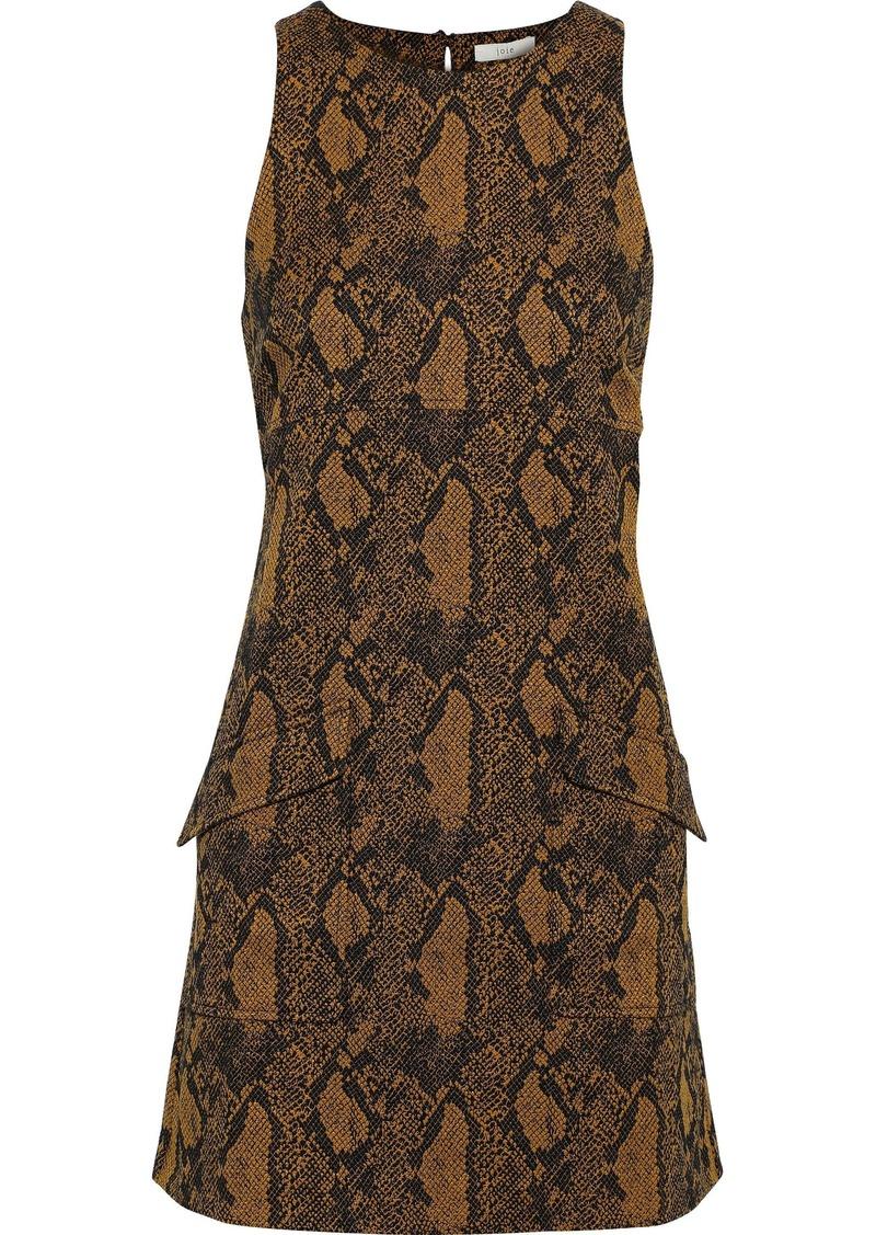 Joie Woman Tonie Cotton-blend Snake-jacquard Mini Dress Animal Print
