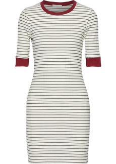 Joie Woman Tralena Striped Ribbed-jersey Mini Dress Off-white