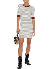 Joie Woman Tralena Striped Ribbed-jersey Mini Dress Off-white
