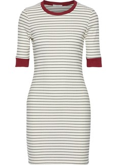 Joie Woman Tralena Striped Ribbed Jersey Mini Dress Off-white