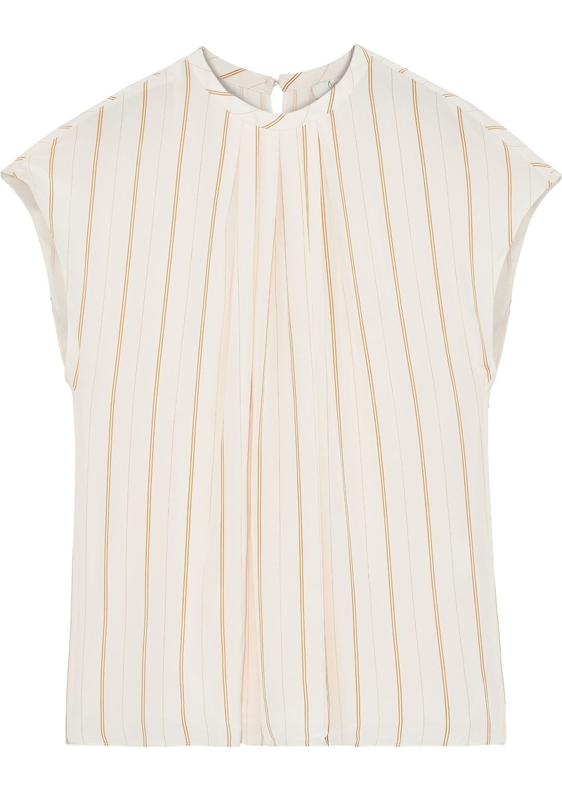 Joie Woman Tyanna Gathered Striped Voile Top Pastel Pink