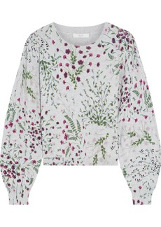 Joie Woman Verna Floral-print Cotton And Cashmere-blend Sweater Light Gray
