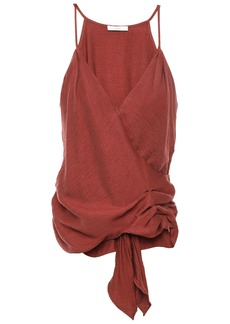 Joie Woman Wrap-effect Draped Gathered Hammered-woven Camisole Brick