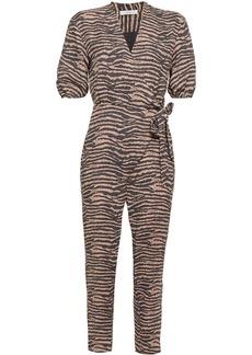 Joie Woman Wrap-effect Tiger-print Crepe Jumpsuit Neutral