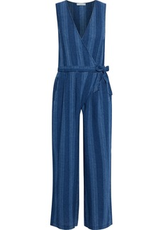 Joie Woman Xenia Cropped Striped Linen And Cotton-blend Wrap Jumpsuit Blue
