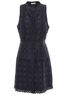 Joie Woman Zakari Broderie Anglaise Cotton And Silk-blend Mini Dress Midnight Blue