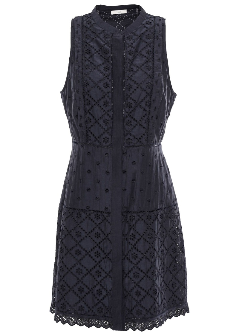 Joie Woman Zakari Broderie Anglaise Cotton And Silk-blend Mini Dress Midnight Blue