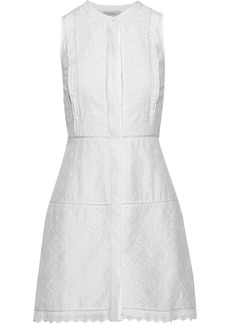 Joie Woman Zakari Broderie Anglaise Cotton And Silk-blend Mini Dress White