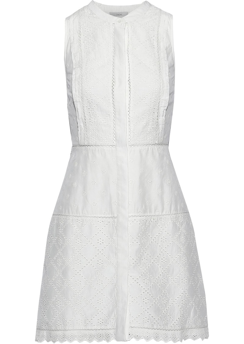 Joie Woman Zakari Broderie Anglaise Cotton And Silk-blend Mini Dress Ivory