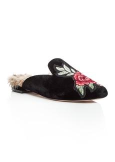 Joie Women's Jean Embroidered Velvet Loafer Mules