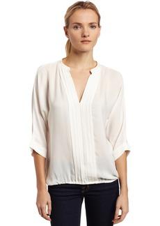 Joie Women's Marru Silk Pintuck Short Sleeve Blouse