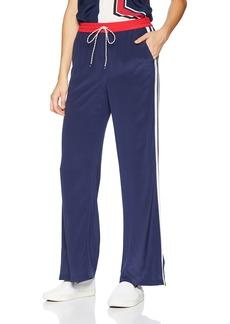 Joie Women's Perlyn Stripe Wide Leg Silk Pants Dark Navy with Cherry l