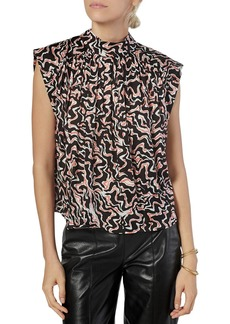 Joie Wright Printed Pleated Top